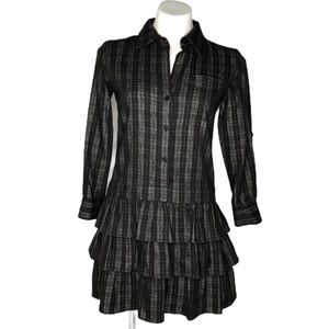 Theory Cacey Button Down Wool Blend Pleated Dress